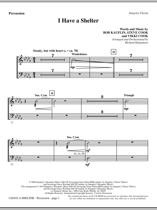 I Have A Shelter - Percussion Sheet Music