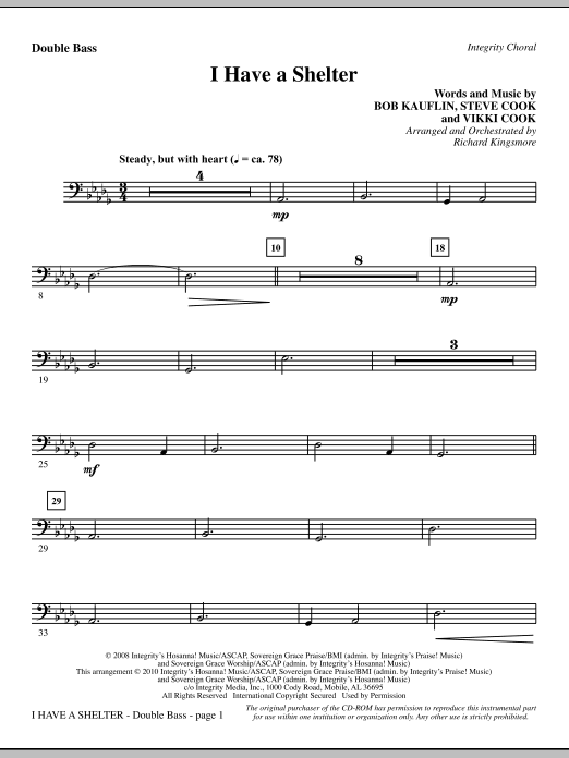 I Have A Shelter - Double Bass Sheet Music