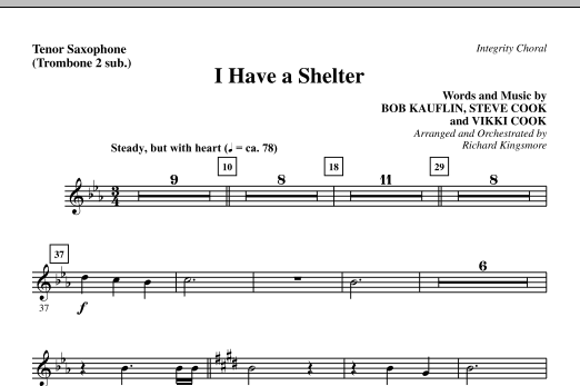I Have A Shelter - Tenor Sax (sub. Tbn 2) Sheet Music