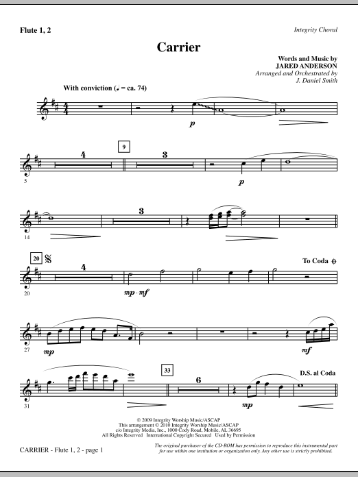 Carrier - Flute 1 & 2 Sheet Music