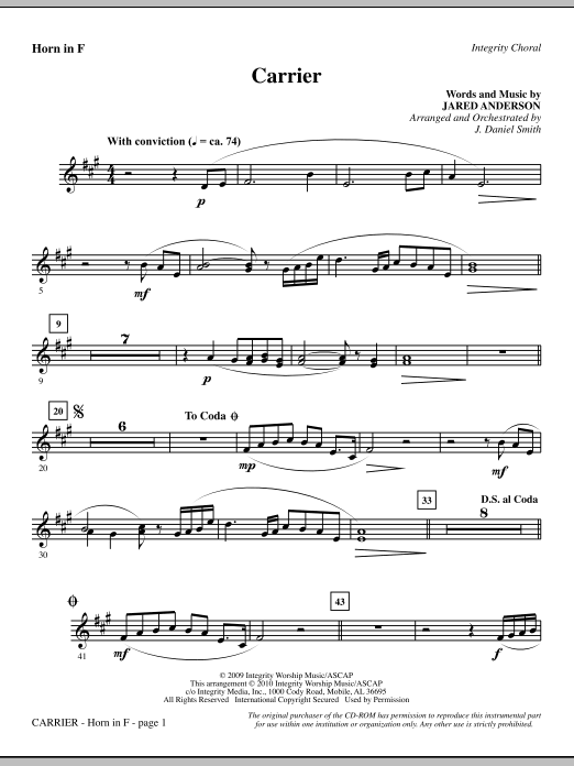 Carrier - F Horn Sheet Music