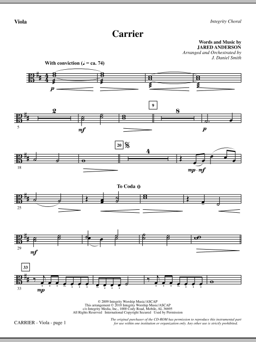 Carrier - Viola Sheet Music