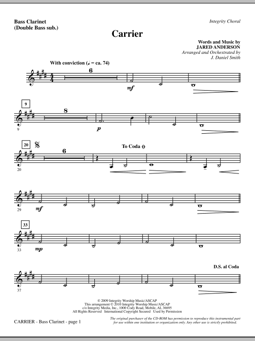 Carrier - Bass Clarinet (sub. dbl bass) Sheet Music