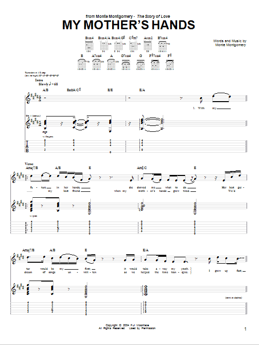 Tablature guitare My Mother's Hands de Monte Montgomery - Tablature Guitare