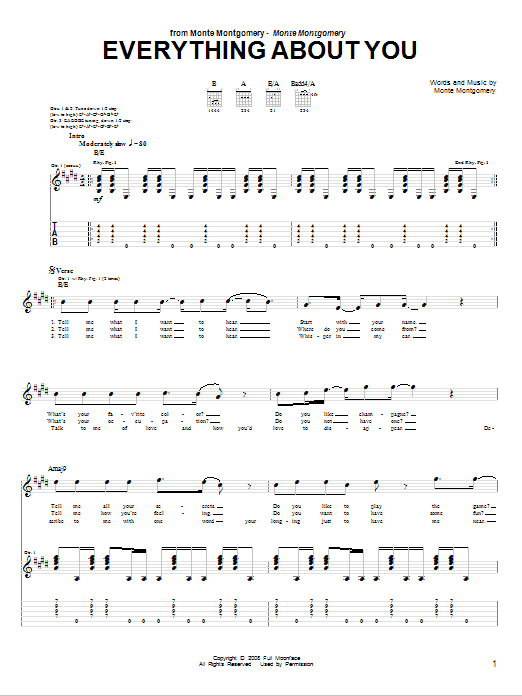Tablature guitare Everything About You de Monte Montgomery - Tablature Guitare