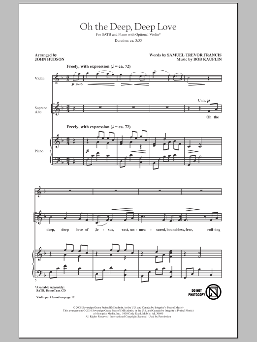Oh The Deep, Deep Love Sheet Music