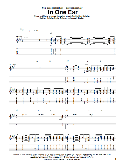 Tablature guitare In One Ear de Cage The Elephant - Tablature Guitare
