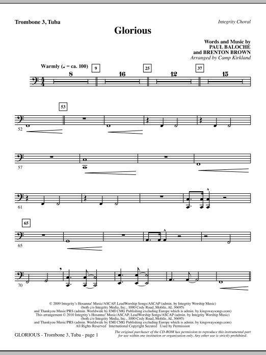 Glorious - Trombone 3/Tuba Sheet Music