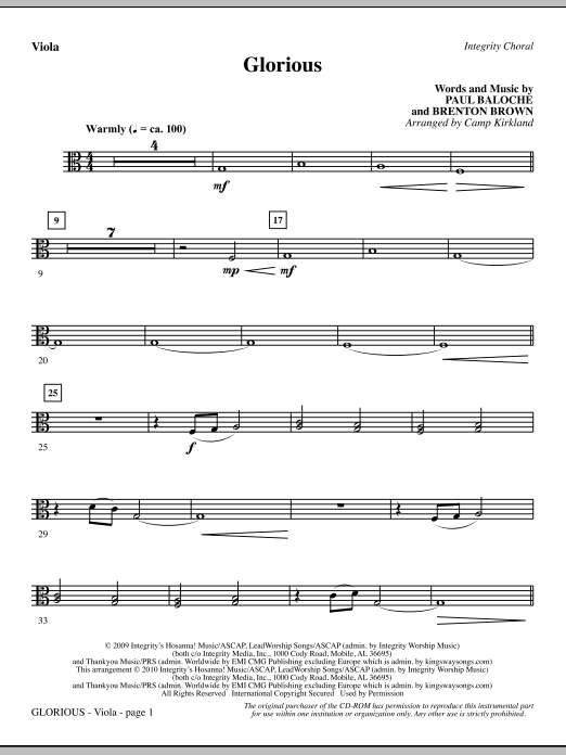 Glorious - Viola (Choir Instrumental Pak)