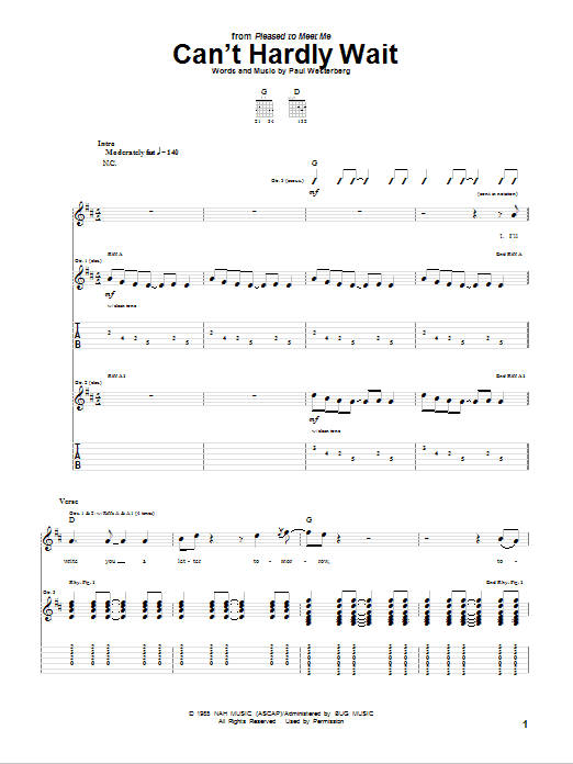 Tablature guitare Can't Hardly Wait de The Replacements - Tablature Guitare
