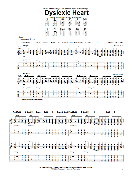 Dyslexic Heart Sheet Music