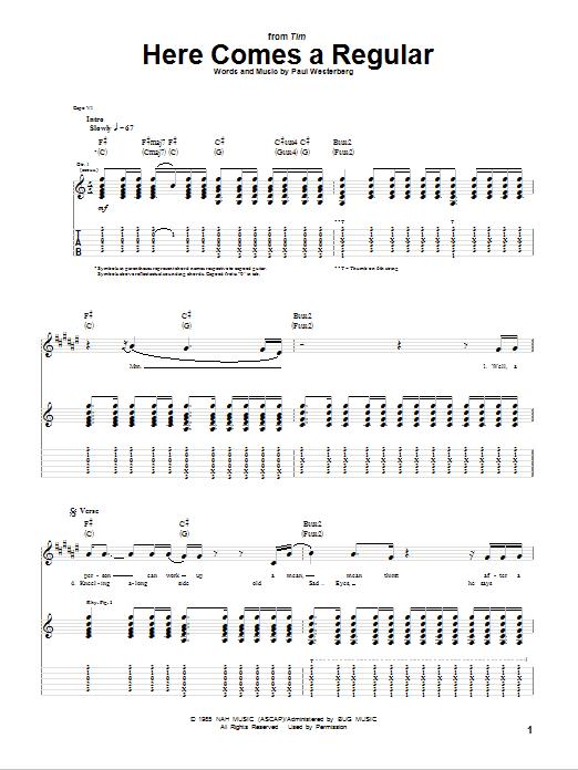Here Comes A Regular (Guitar Tab)