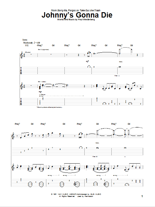 Johnny's Gonna Die Sheet Music