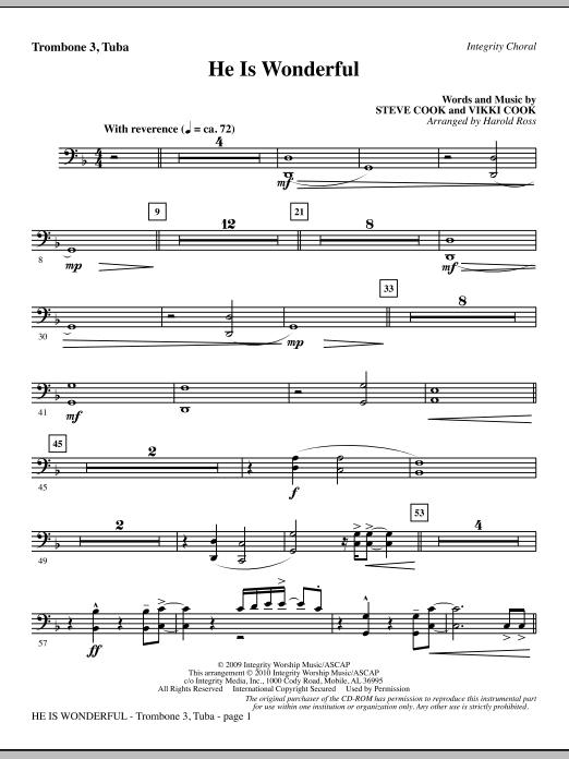 He Is Wonderful - Trombone 3/Tuba (Choir Instrumental Pak)
