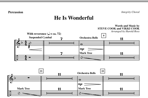 He Is Wonderful - Percussion Sheet Music