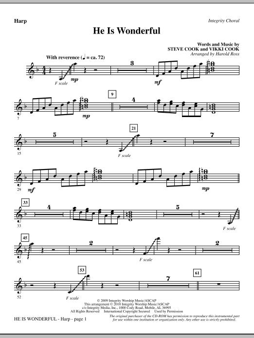 He Is Wonderful - Harp (Choir Instrumental Pak)
