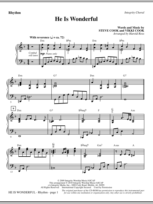 He Is Wonderful - Rhythm (Choir Instrumental Pak)
