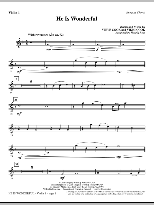 He Is Wonderful - Violin 1 (Choir Instrumental Pak)