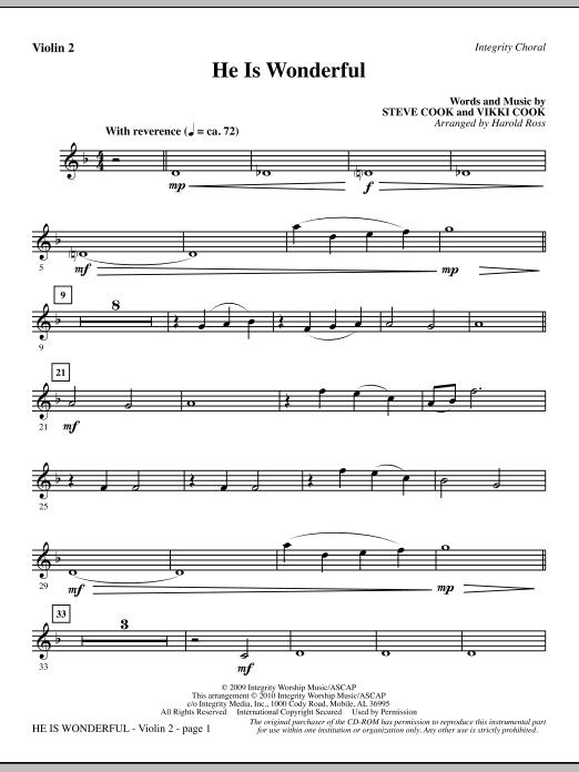 He Is Wonderful - Violin 2 (Choir Instrumental Pak)