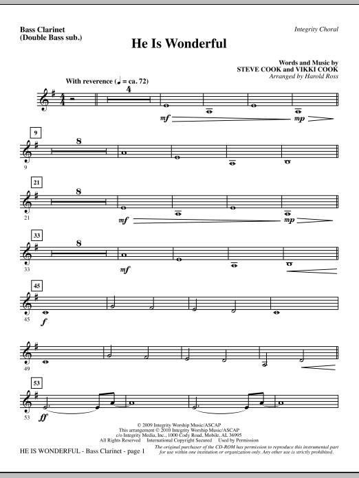 He Is Wonderful - Bass Clar. (Double Bass sub.) Sheet Music
