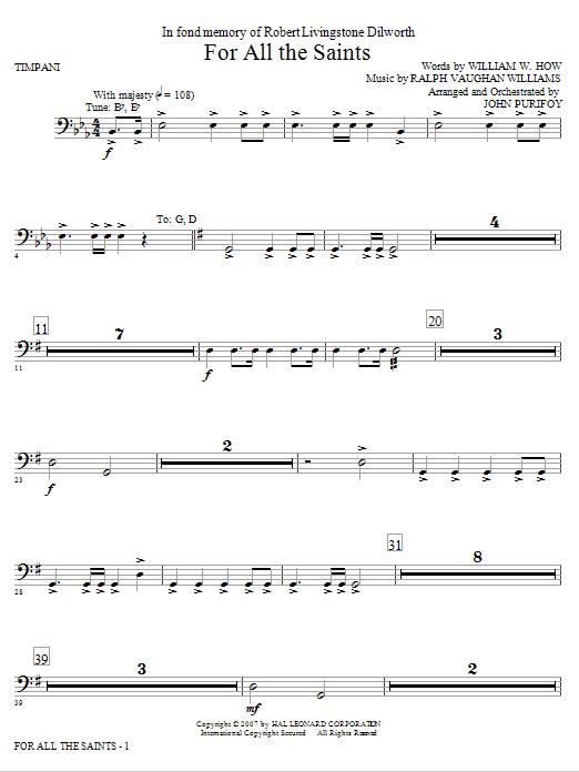 For All The Saints - Timpani Sheet Music