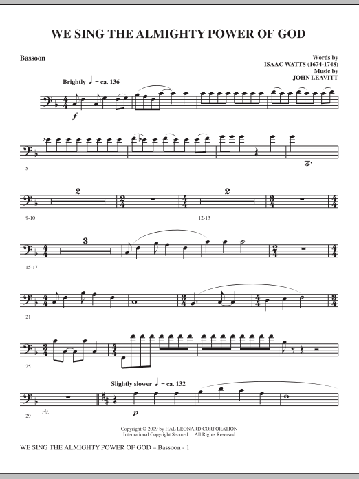 We Sing The Almighty Power Of God - Bassoon (Choir Instrumental Pak)