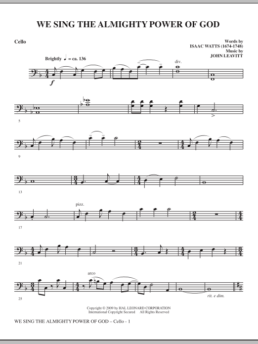 We Sing The Almighty Power Of God - Cello (Choir Instrumental Pak)