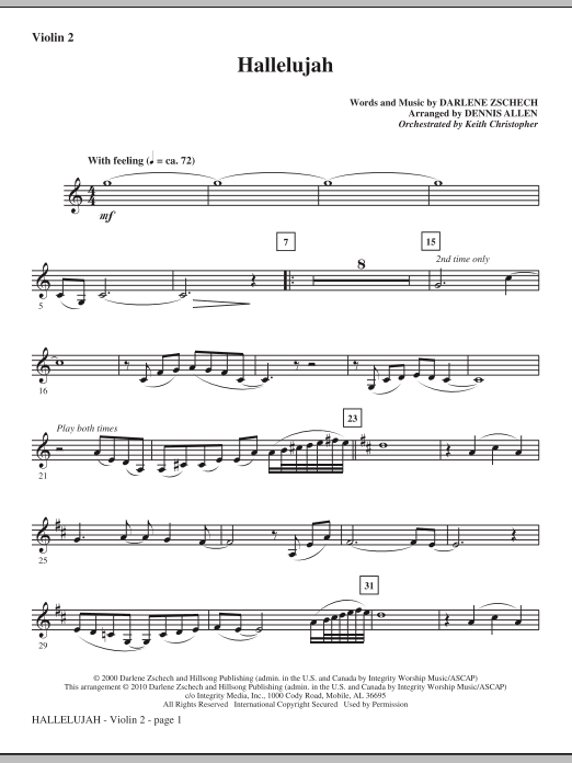 Hallelujah - Violin 2 Sheet Music