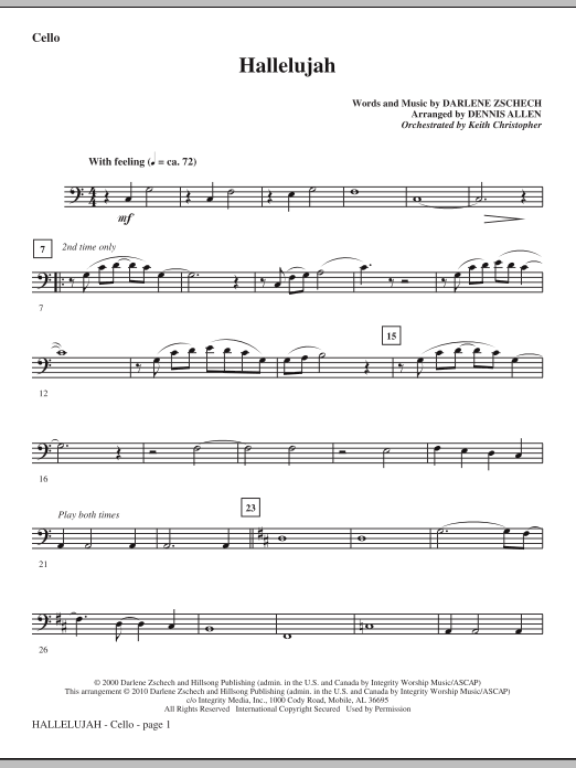 Hallelujah - Cello Sheet Music