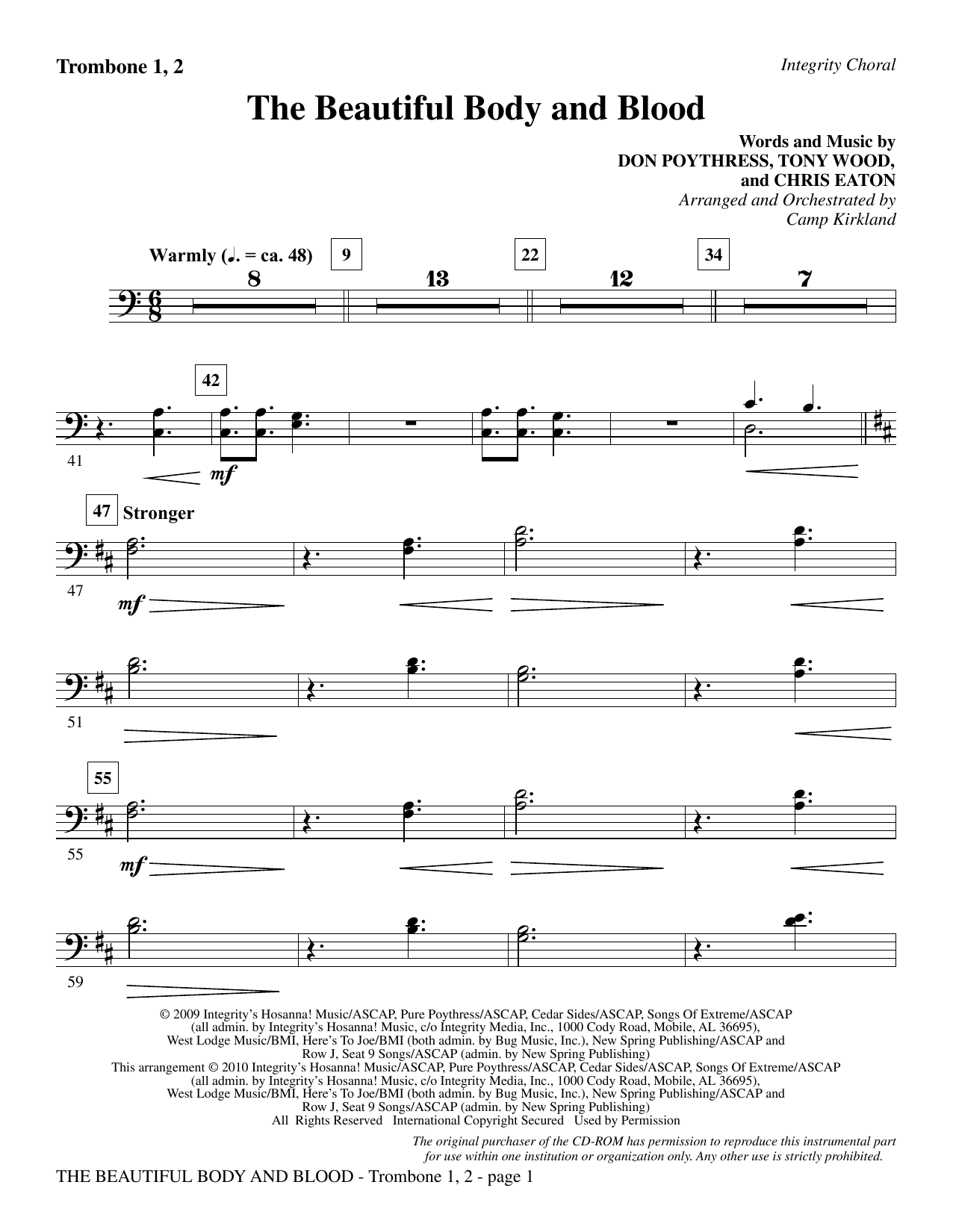 The Beautiful Body And Blood - Trombone 1 & 2 Sheet Music