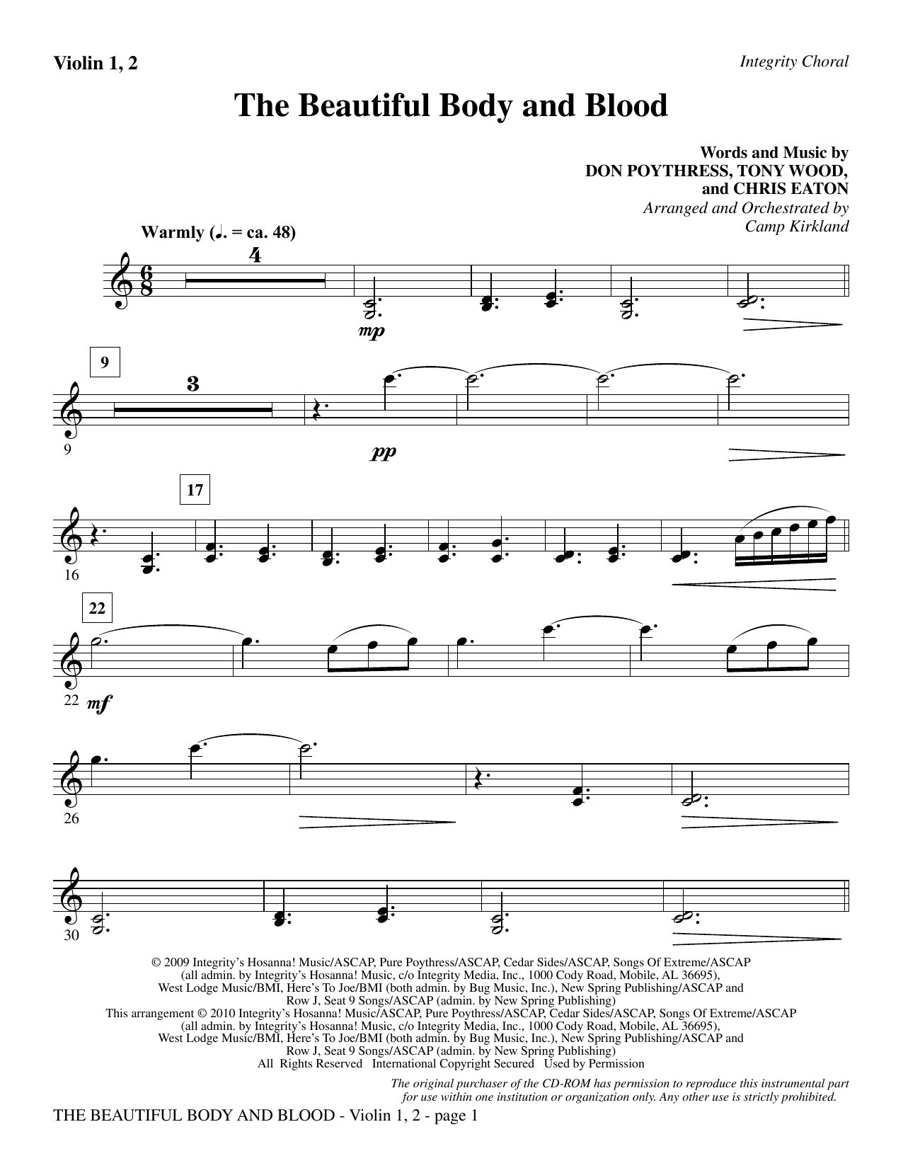 The Beautiful Body And Blood - Violin 1, 2 Sheet Music