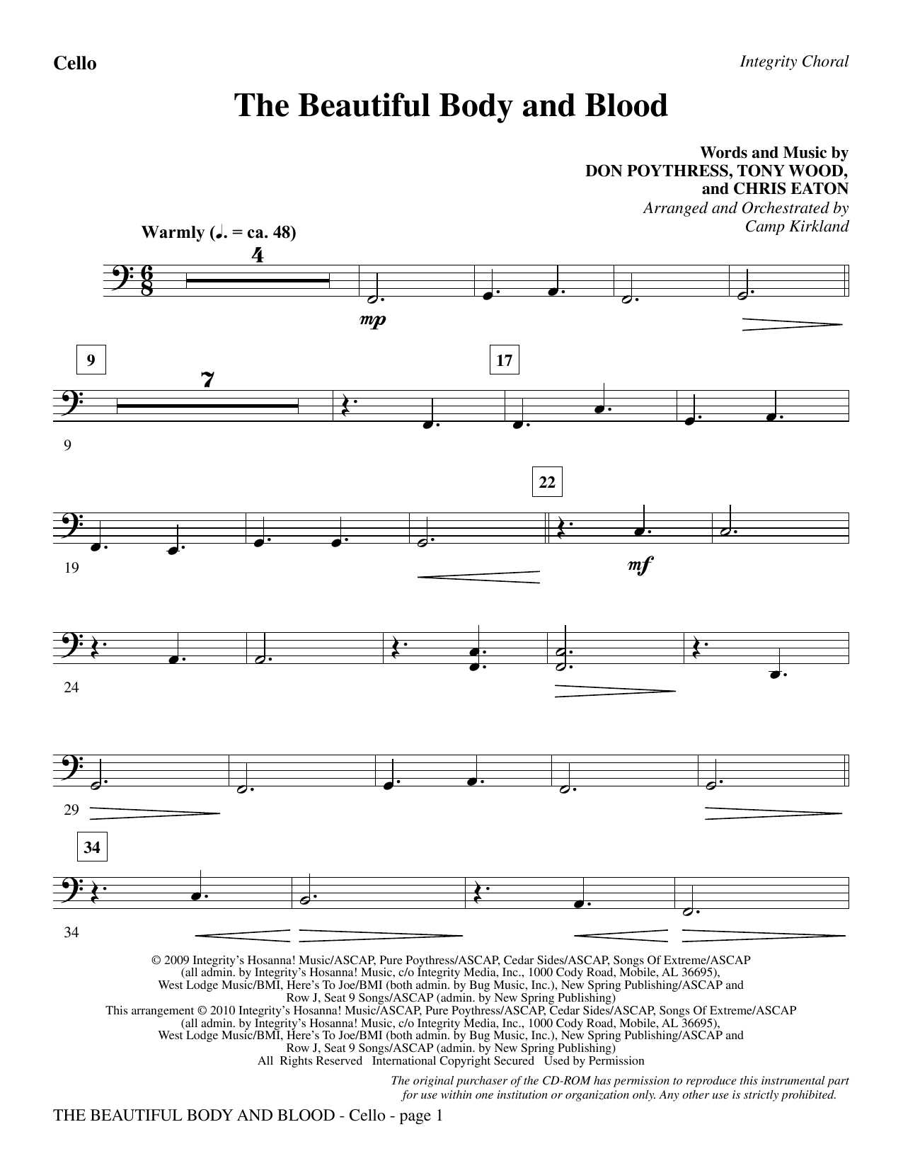 The Beautiful Body And Blood - Cello Sheet Music
