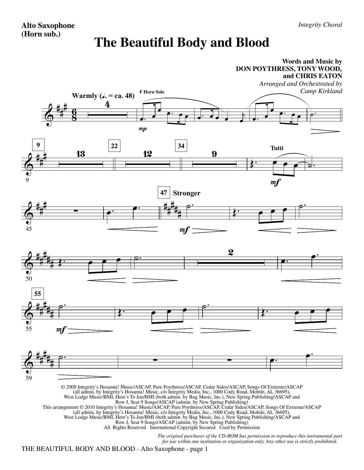 The Beautiful Body And Blood - Alto Sax (sub. Horn) Sheet Music