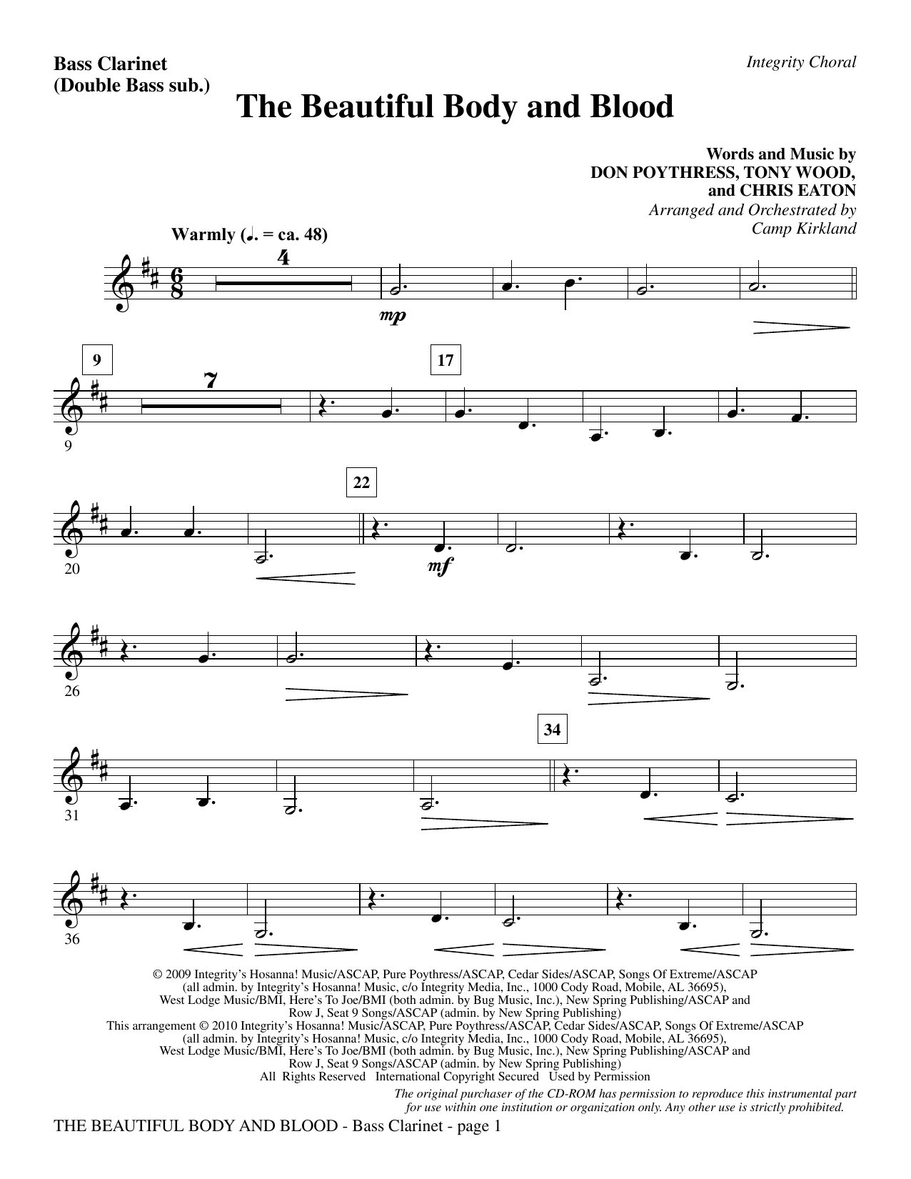 The Beautiful Body And Blood - Bass Clarinet (sub. dbl bass) Sheet Music