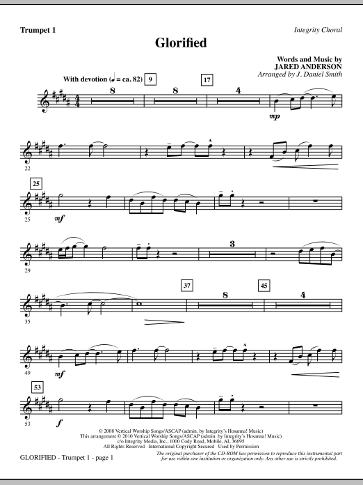 Glorified - Trumpet 1 (Choir Instrumental Pak)