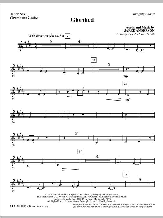 Glorified - Tenor Sax (Trombone 2 sub.) (Choir Instrumental Pak)