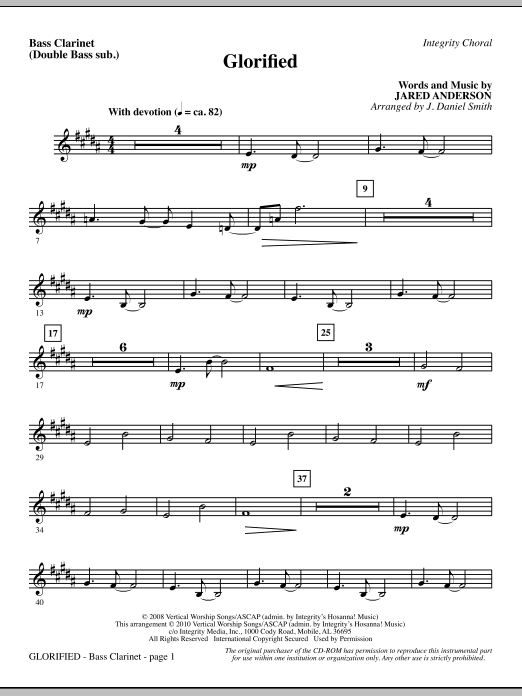Glorified - Bass Clar. (Double Bass sub.) (Choir Instrumental Pak)