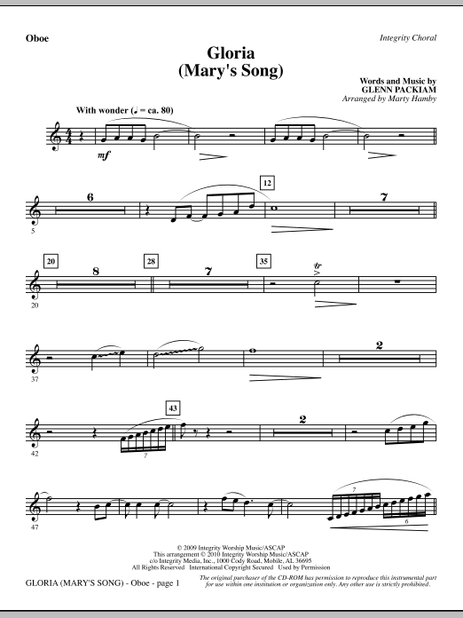 Gloria (Mary's Song) - Oboe Sheet Music