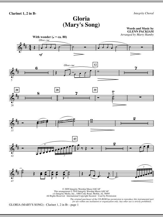Gloria (Mary's Song) - Clarinet 1 & 2 Sheet Music