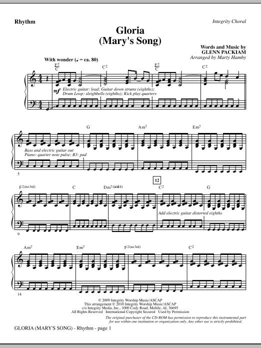 Gloria (Mary's Song) - Rhythm Sheet Music