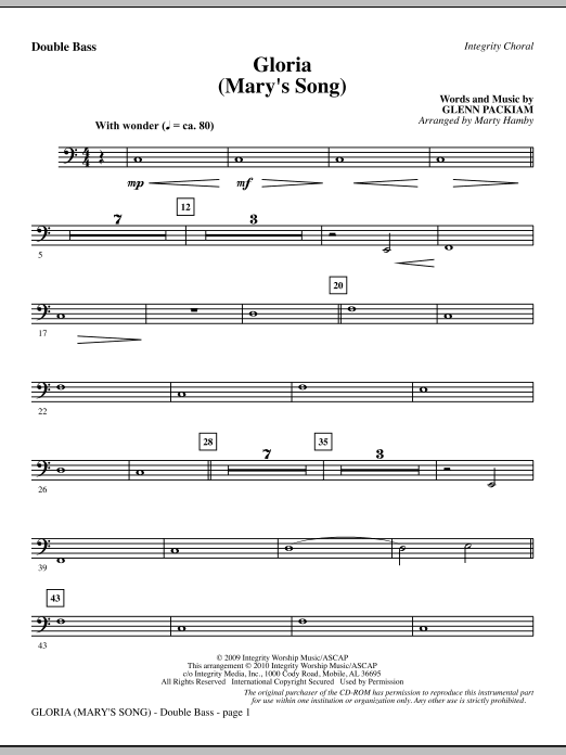 Gloria (Mary's Song) - Double Bass Sheet Music