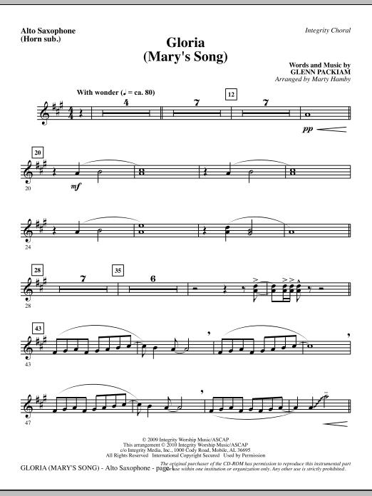 Gloria (Mary's Song) - Alto Sax (Horn sub.) Sheet Music