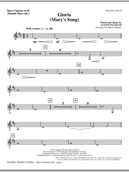 Gloria (Mary's Song) - Bass Clar. (Double Bass sub.) Sheet Music