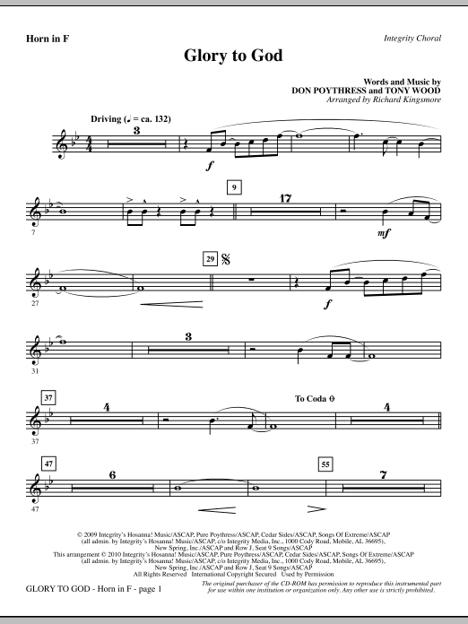 Glory To God - Horn in F (Choir Instrumental Pak)