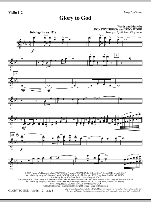 Glory To God - Violin 1, 2 Sheet Music