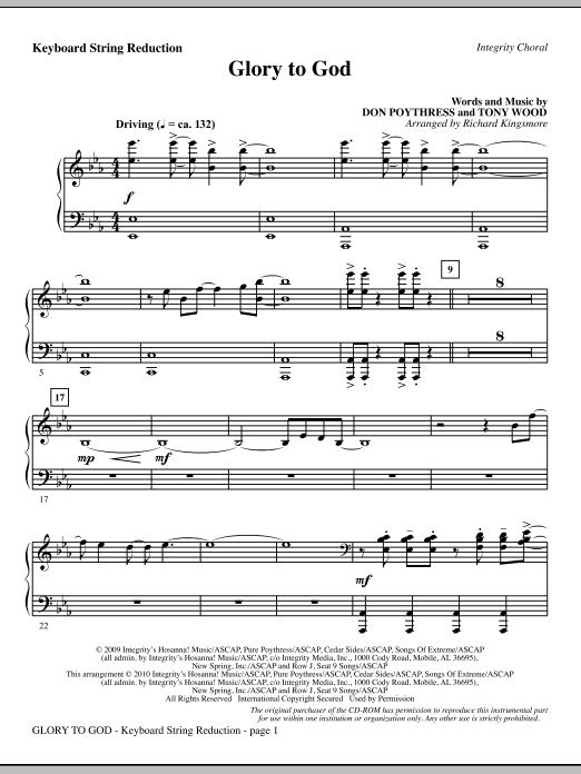 Glory To God - Keyboard String Reduction Sheet Music