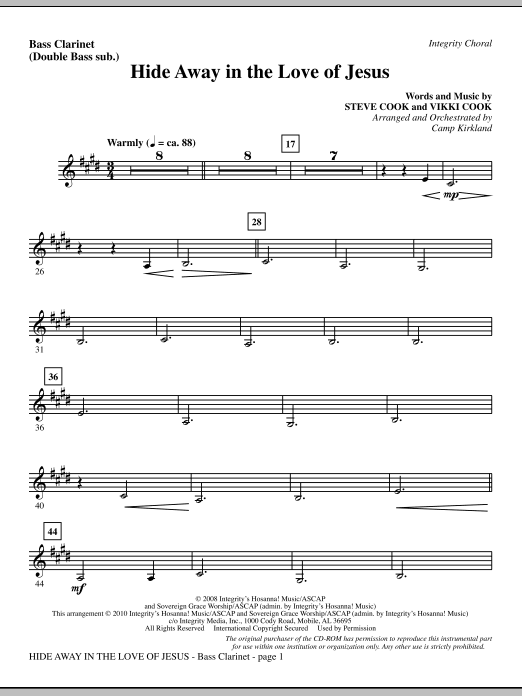 Hide Away In The Love Of Jesus - Bass Clarinet (sub. dbl bass) Sheet Music