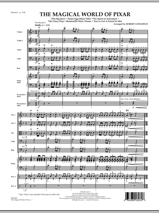 The Magical World Of Pixar (COMPLETE) sheet music for orchestra by Robert Longfield. Score Image Preview.