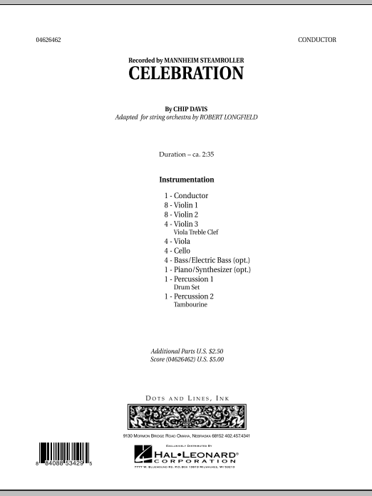 Celebration (Mannheim Steamroller) (COMPLETE) sheet music for orchestra by Robert Longfield, Chip Davis and Mannheim Steamroller. Score Image Preview.