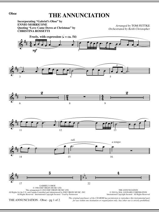 The Annunciation (incorporating Gabriel's Oboe) - Oboe (Choir Instrumental Pak)